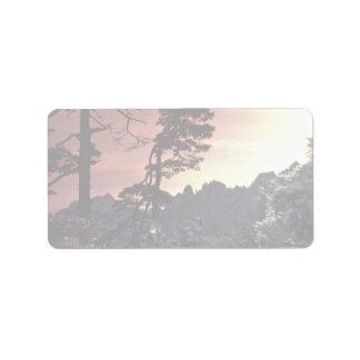 Beautiful Sunset: Yellow Mountain, China Label