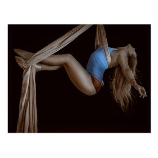 Beautiful Suspended Aerial Silk Performer Postcard