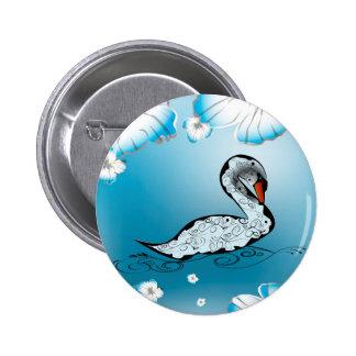 Beautiful swan 2 inch round button