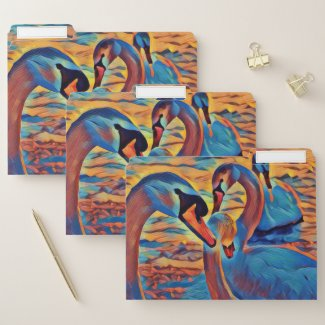 Beautiful Swan Artistic Painting Nature Folders