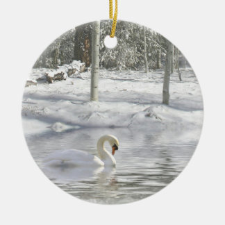 Beautiful Swan in the Snow Christmas Ornament