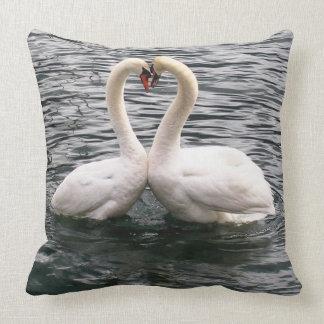 Beautiful swan pair throw pillow