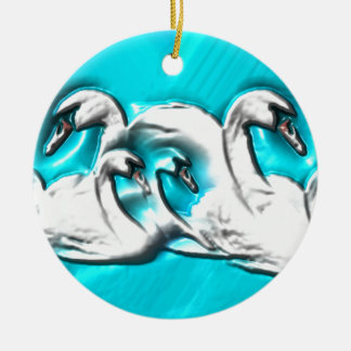 Beautiful swans ceramic ornament
