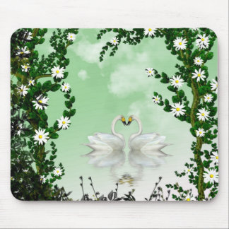 Beautiful swans flowers 1 mouse pad