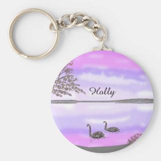 Beautiful swans lake sunset scene, add name basic round button keychain