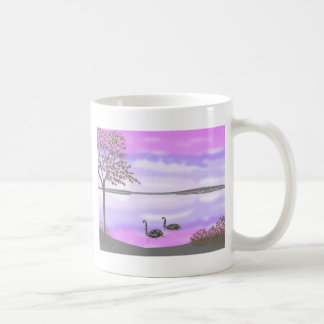Beautiful swans lake sunset scene, add name coffee mug