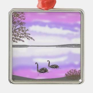 Beautiful swans lake sunset scene, add name metal ornament