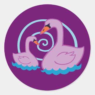 Beautiful Swans Round Stickers
