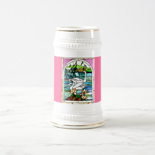 Beautiful Swans Stained Glass Art Beer Stein