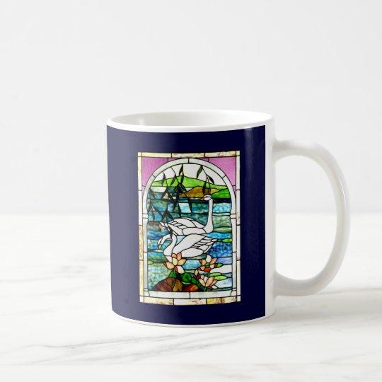 Beautiful Swans Stained Glass Art Coffee Mug