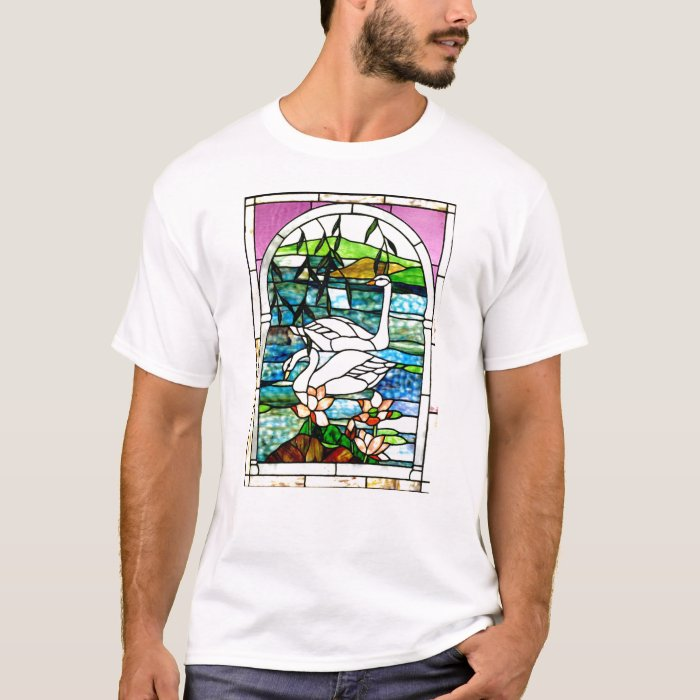 Beautiful Swans Stained Glass Art T-Shirt