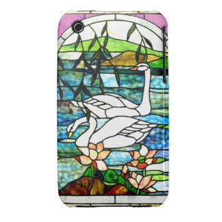 Beautiful Swans Stained Glass Blackberry Curve Cas iPhone 3 Cover