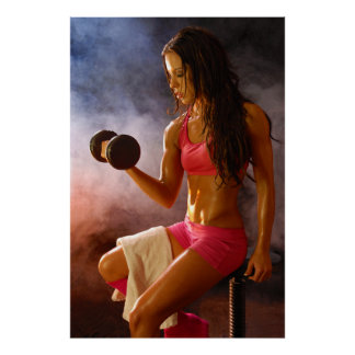 Beautiful Sweaty Woman Working Out Dumbell Poster