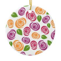 Beautiful Swirl Rose Floral Pattern Ceramic Ornament