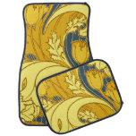 Beautiful Swirling Blue Gold Floral Car Mat