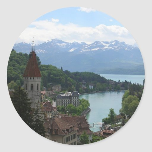 Beautiful Swiss Landscape Classic Round Sticker