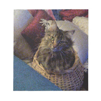 Beautiful Tabby Maine Coon Kitty Cat in a Basket Notepad