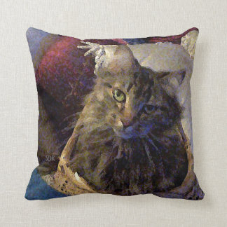 Beautiful Tabby Maine Coon Kitty Cat in a Basket Throw Pillow