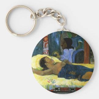 Beautiful tahitian woman Gauguin painting Nativity Key Chain