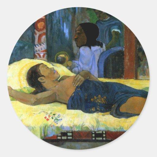 Beautiful tahitian woman Gauguin painting Nativity Round Sticker