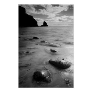 Beautiful Talisker Bay Seascape B & W Poster