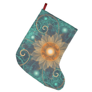 Beautiful Tangerine Orange and Teal Lotus Fractals Large Christmas Stocking