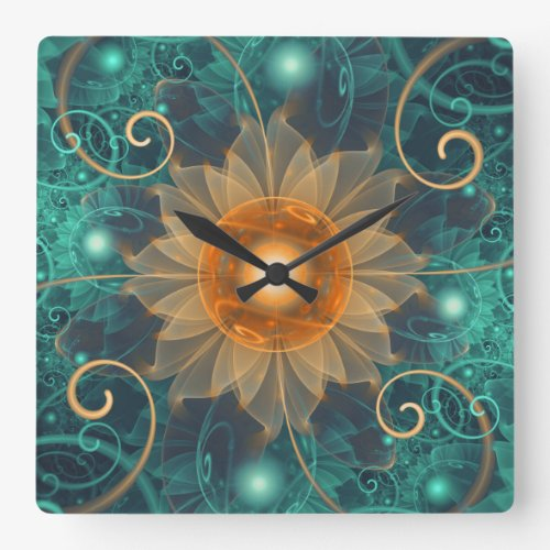 Beautiful Tangerine Orange and Teal Lotus Fractals Square Wall