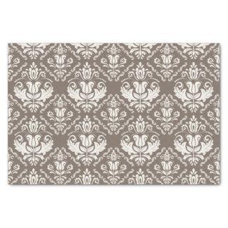 "Beautiful Taupe Ivory Damask Brocade Pattern 10"" X 15"" Tissue Paper"