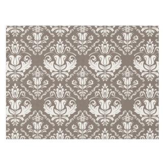 Beautiful Taupe Ivory Damask Brocade Pattern Tablecloth