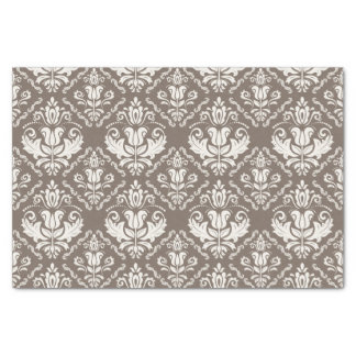 Beautiful Taupe Ivory Damask Brocade Pattern Tissue Paper