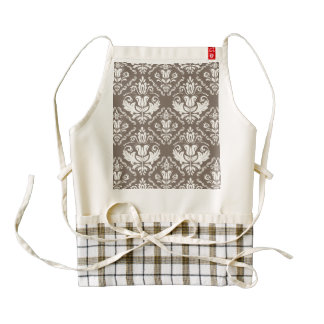 Beautiful Taupe Ivory Damask Brocade Pattern Zazzle HEART Apron