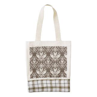 Beautiful Taupe Ivory Damask Brocade Pattern Zazzle HEART Tote Bag