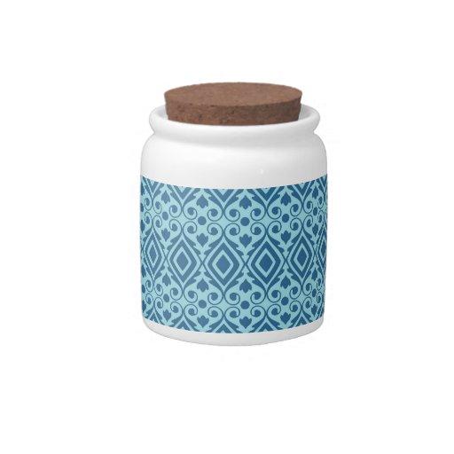 Beautiful Teal and Dark Blue Diamond Pattern Candy Jars