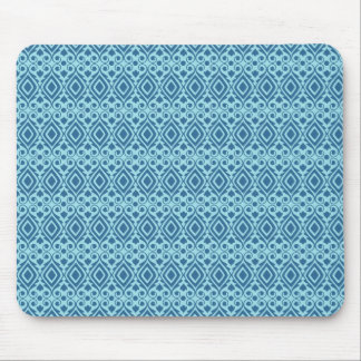 Beautiful Teal and Dark Blue Diamond Pattern Mouse Pad