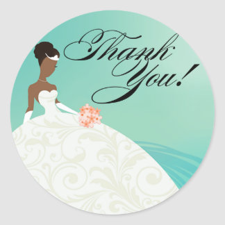 Beautiful Teal and White Luxe Thank You Classic Round Sticker