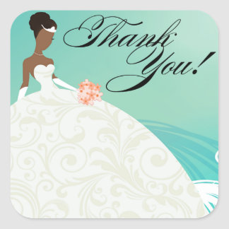 Beautiful Teal and White Luxe Thank You Square Sticker