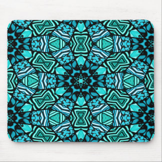 Beautiful Teal Aqua Turquoise Ethnic Mosaic Mouse Pad