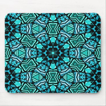 Beautiful Teal Aqua Turquoise Ethnic Mosaic Mouse Pad