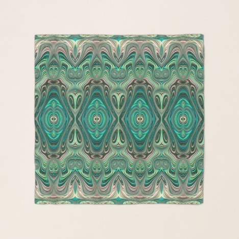 Beautiful Teal Art Deco Style Fractal Abstract Art Scarf
