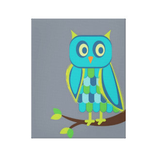 Beautiful Teal/Blue/Lime owl on branch Canvas Print
