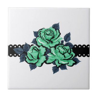 Beautiful Teal Color Roses Small Square Tile