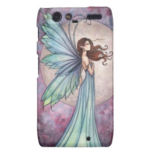 Beautiful Teal Fairy and Full Moon Droid RAZR Cover