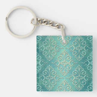 Beautiful Teal Green Distressed Damask Square Acrylic Keychain