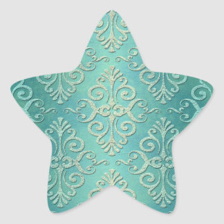 Beautiful Teal Green Distressed Damask Star Sticker