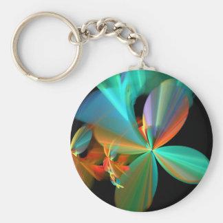 Beautiful Teal & Orange Fractal Art Flower Petals Basic Round Button Keychain