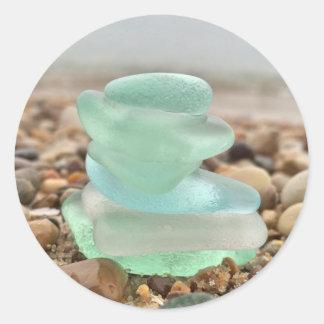 Beautiful Teal Sea-glass Beach Stickers