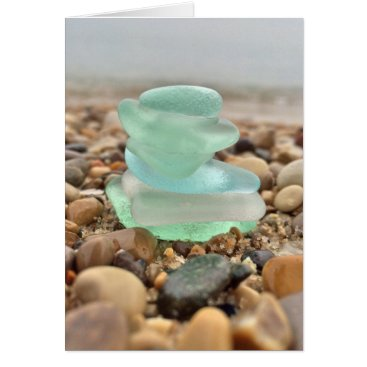 Beach Themed Beautiful Teal Seaglass Beach Thinking of You Card