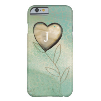 Beautiful Teal Vintage Heart Flower Design Barely There iPhone 6 Case