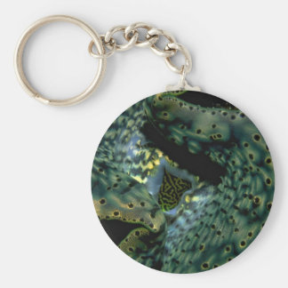 Beautiful The siphon and mantle of a Tridacna clam Keychain