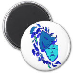Beautiful Theatre Masks 2 Inch Round Magnet